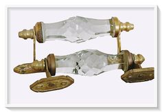 Vintage Style Brass Blue Victorian Cut Glass 2 Pcs Pull Push Door Drawer Handle