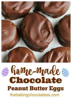 Home-made Chocolate Peanut Butter Eggs - Copy-Cat Reese's Peanut Butter Cup Recipe Reeses Peanut Butter Cup Recipe, Chocolate Peanut Butter, Chocolate Caramels, Homemade Chocolate, Chocolate Cheesecake, Chocolate Recipes, Fun Desserts, Dessert Recipes, Health Desserts