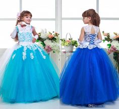 2016 Arabic Lace Colorful Tulle Ball Gown Flower Girl Dresses Vintage Child Pageant Dresses Beautiful Flower Girl Wedding Dresses F29