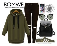"""Romwe : Hooded Zipper Loose Green Sweatshirt"" by joujou-hajar ❤ liked on Polyvore featuring adidas Originals, Forever 21, black and romwe"