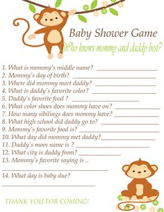 Baby Shower Game Printable Instant Download - Who Know's Mommy and Daddy Best - Green Brown Monkey Theme by SassyAndJassy on Etsy https://www.etsy.com/listing/190518284/baby-shower-game-printable-instant