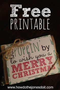 Looking for a Christmas gift that costs next to nothing?! Microwave popcorn with this free 'Just Poppin' By to Wish You a Merry Christmas!' printable might just do the trick!