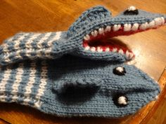 Hand Knitted shark mitten puppets by ArtLoversShowcase on Etsy, $10.00