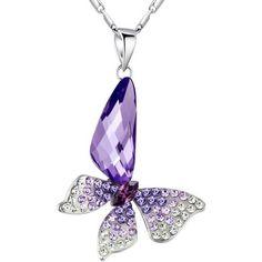 Stylized Butterfly Wing Drop Swarovski Elements Crystal Pendant Necklace (Purple)
