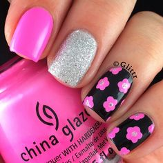 Beautiful floral mix and match manicure Fancy Nails, Pink Nails, Cute Nails, Pretty Nails, My Nails, Colorful Nail Designs, Cool Nail Designs, Colourful Nails, Fabulous Nails