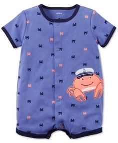 A happy crab smiles from the front of this cotton romper from Carter's, making it a cheerful addition to his warm-weather wardrobe. | Cotton | Machine washable | Imported | Allover crab print with cra