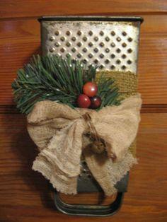 Primitive Rustic Christmas Vintage Grater Kitchen Dish Towel Hanger Holder