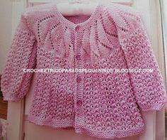 Ola amigas! Sugestão de receita em   tricô, lindo esse casaquinho!! Quem acompanha   meu Blog sabe que não posso fazer tricô, tricoto   ape...
