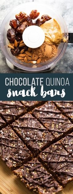 These chocolate almond quinoa snack bars are a great meal prep snack to enjoy throughout the week! Fudgy, with a little crunch from toasted quinoa.