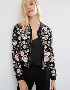 Buy Needle & Thread Embroidery Lace Bomber Jacket at ASOS. Get the latest trends with ASOS now. Asos Fashion, Fashion Mode, Latest Fashion Clothes, Fashion News, Fashion Outfits, Fashion Online, Embroidered Bomber Jacket, Kurta Designs, Look Chic