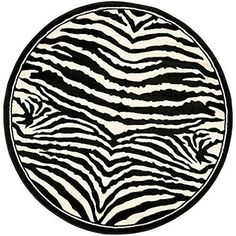 Round Zebra Print Rug Carpet Rugs Black White Area Rug 4Foot Diameter New Animal #Safavieh