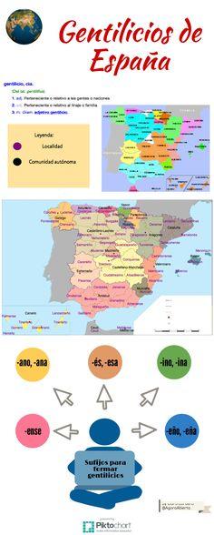 Gentilicios de España | Piktochart Infographic Editor