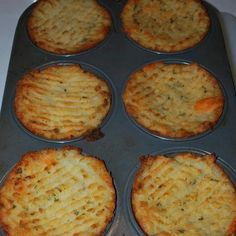 Just mash potatoes plain with butter or you can add yummy ingredients like cooked bacon, cheese, parsley, green onion etc. Stuff in to a greased muffin tin, run a fork along the top and brush with melted butter or olive oil. Bake at 375F degrees or until tops are crispy and golden.