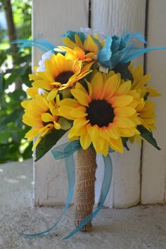 Turquoise Teal Sunflower Wedding Bouquet Maid of by MyDayBouquet -I love this bouquet, just need to change the blue from a teal blue to a royal blue!!