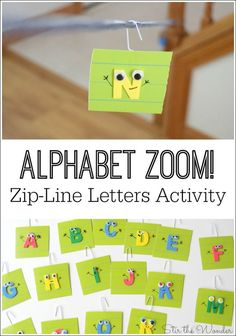 Alphabet Zoom Zip-Line Letters is a fun way for kids to learn letter recognition and the sounds they make! Alphabet Zoom Zip-Line Letters is a fun way for kids to learn letter recognition and the sounds they make! Preschool Letters, Kindergarten Literacy, Early Literacy, Alphabet Games For Kindergarten, Zoo Phonics, Letters For Kids, Learning Games For Kids, Preschool Learning, Letter Learning Games