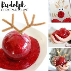 Rudolph Reindeer Slime Recipe for Christmas Slime Recipes