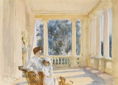 John Singer Sargent (American, 1856-1925), Mrs. Ralph Curtis with her Daughter, Sylvia, 1902. Watercolor on paper, 12 x 16 ½ in.