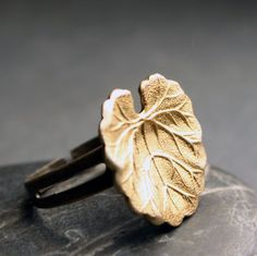 Nature Jewelry : Lilypad Ring in Adjustable Brass. 16.50, via Etsy.