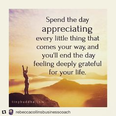 Wise words Rebecca!   #Repost @rebeccacollinsbusinesscoach with @repostapp  Appreciate Everything Spend your day not just appreciating the big things but the small things too. Like feeling the sun on your face someone holding your hand a shared smile or joke watching the sunset or hearing the rain on your window while you're cosy in bed. These all add up into cherished moments & big things