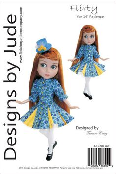 "Flirty Dress Pattern for 14"" Patience Dolls Tonner #DesignsbyJude"
