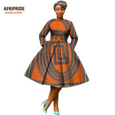 african clothing 2018 autumn women dress AFRIPRIDE full sleeve calf-length ball grown women casual dress with headscraf African Fashion Skirts, Short African Dresses, African American Fashion, African Fashion Designers, African Inspired Fashion, African Print Dresses, African Print Fashion, African Dress Styles, Ankara Fashion