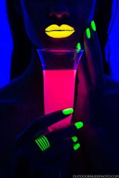 "On dark skinned model + UV ""drink"" adds extra element"