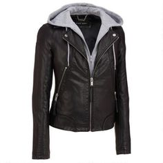 Black Rivet Hooded Center Zip Faux-Leather Cycle Jacket Was: $250.00                     Now: $119.99