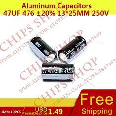 1LOT=10PCS Aluminum Capacitors 47uF 476 20% 13*25mm 250V 47000nF 47000000pF Diameter13mm  #Affiliate