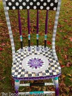 The Decorative Paintbrush designs by Mary Mollica for custom orders email me at… Painted Wooden Chairs, Painted Rocking Chairs, Whimsical Painted Furniture, Hand Painted Furniture, Funky Furniture, Recycled Furniture, Paint Furniture, Furniture Makeover, Furniture Ideas