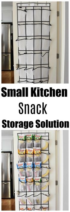 Are you looking for a clever pantry solution for small kitchens? If so, this Snack Holder Kitchen Storage Idea is genius and takes up no additional kitchen space. Get inspired to organize your child's snacks, like SENSIBLE PORTIONS® Garden Vegg Small Kitchen Organization, Small Kitchen Storage, Pantry Organization, Kitchen Pantry, Organizing Ideas, Garden Veggie Straws, No Pantry Solutions, Jar Storage, Food Storage