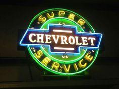 Original 1930's Milk-Glass Lettered Chevrolet Neon Sign!