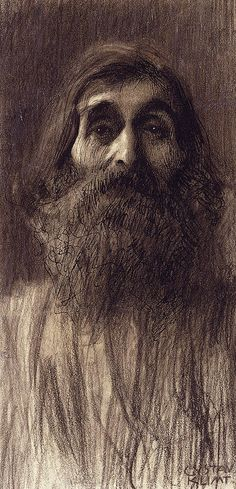 klimt zeichnungen Portrait Of A Bearded Man - Gustav Klimt Illustration Inspiration, Illustration Art, Life Drawing, Painting & Drawing, Klimt Art, Guache, Famous Artists, Online Art, Art Nouveau