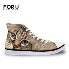 FORUDESIGNS Cute Cat Dog Printing High-top Canvas Shoes Woman Zapatos Mujer Casual Ladies Animal Owl Vulcanized Platform Shoes