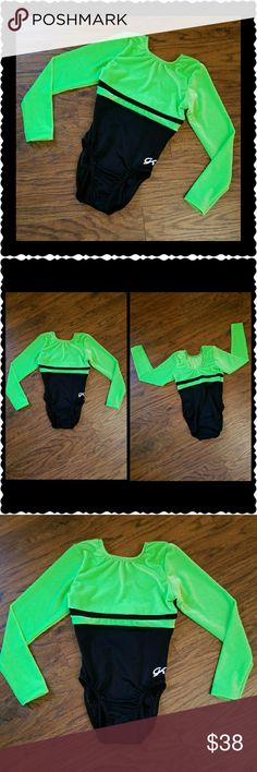 GK Competition Long Sleeve Gymnastics Leotard Sz Child Large Black with velvet Lime Green  New, never used, never washed After purchase, has been stored in the GK garment bag it came in!   My daughter quit before competition....  FREE WITH PURCHASE:  ~ The garment bag ~ Never used head band that matches that I bought her from JUSTICE that says GYMNASTICS in Lime Green...  Bundle & Save!  Please chk out my other listings!  Thank you! :)  ~~~ Lots of Brand New VS PINK items thru out my closet…