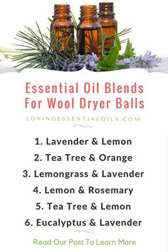 Essential oil blends for wool dryer balls