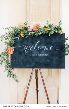 Floral wedding chalkboard sign
