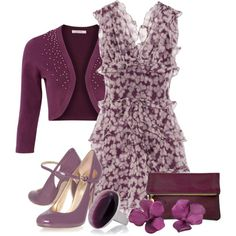"""flirty dressy outfit """"Radiant Orchid flirty"""" by torinmia on Polyvore"""