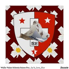 Wallis Valais Schweiz Suisse Poster Wallis, Flag, Cards, Poster, Switzerland, Map, Playing Cards, Flags, Posters