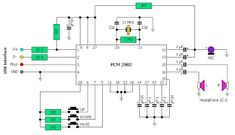Please visit Electronic Circuit: Schematic diagram of a USB player for more detail information. Usb Speakers, Audio Amplifier, Electronics Basics, Electronics Projects, Simple Electronic Circuits, Apple Watch, Electrical Circuit Diagram, Electronic Circuit Projects, Circuit Design
