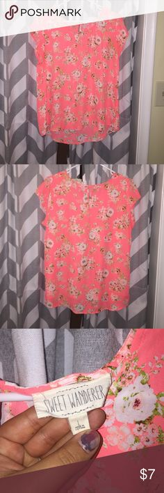 Neon Floral shirt Super cute top, only wore once . It's neon orange . Super pretty. sweet wanders Tops Blouses