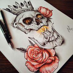 Skull Roses by EdwardMiller.deviantart.com on @DeviantArt