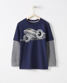 Double Sleeve Art Tee In Supersoft Jersey - Navy