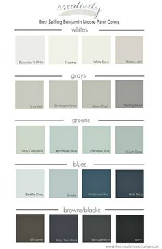 Last week we shared the Most Popular Benjamin Moore Paint Colors. This week check out the Best Selling Benjamin Moore Paint Colors Interior Paint Colors, Paint Colors For Home, House Colors, Interior Design, Paint Colours, Beach Paint Colors, Colours 2017, Popular Paint Colors, Farmhouse Paint Colors