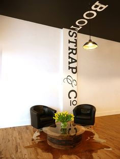 Environmental Graphic - cool office space that includes office design, vertical wall graphics, and signage - great retail design idea! #industrialofficedesigns