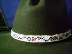 Classic Climbing Rose hatband, Native American style beaded hat band