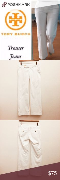 """Tory Burch White Trouser Jean REDUCED Waist 30"""", inseam 31"""", front rise 9"""", bottom leg opening 11"""", cotton stretch blend fabric, crisp white, no stains or rips. Love ❤️ these pants. Reposh - did not fit. GREAT PRICE Tory Burch Jeans Flare & Wide Leg"""