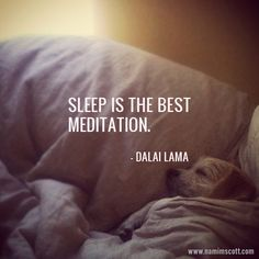"""Sleep is the best meditation."" - Dalai Lama  FINALLY - Someone agrees with me!"