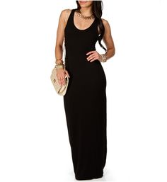 Long black tank maxi dress