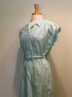 Vintage Blue Gingham Double Breasted Shirtwaist Dress by tobedetermined on Etsy