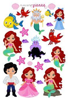 Disney LITTLE MERMAID Inspired Themed Planner Sticker Sheet perfect for Erin Condren Planner Little Mermaid Birthday, Little Mermaid Parties, Disney Little Mermaids, Ariel The Little Mermaid, Baby Disney, Filofax, Planner Decorating, Felt Patterns, Printable Planner Stickers